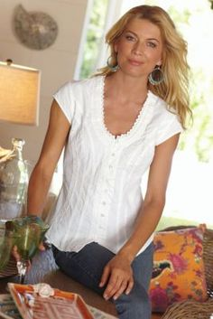 Feminine detailing | Taos Top - Peruvian Crinkled Cotton Top, Tops, Clothing | Soft Surroundings