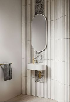 Home Decor Ideas Bathroom Lune Collection: Omvivo collab with Adele Bates Bathroom Mirror Design, Bathroom Interior Design, Modern Bathroom, Small Bathroom, Bathroom Ideas, Minimal Bathroom, Bathroom Designs, Marble Bathrooms, Bathroom Mirrors