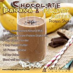 Blend up a delicious, healthful treat with this Chocolate Banana Peanut Butter Protein Shake Recipe from AntiAgingCompany.com.