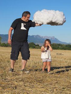 Fotografia de niños con nubes DIY