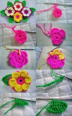 Crochet flowers-the link has diffrent flowers to make but you can see how to do these in these pics on the pin.