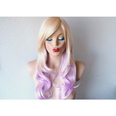 Blonde Pink Ombre wig. Pastel pink hair Curly hairstyle with long side... ($130) ❤ liked on Polyvore featuring beauty products, haircare, hair styling tools and curly hair care
