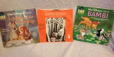 Lot Of 3 Record Kids Bambi  W/Book Lady & the Tramp W/book & Rumpelstiltskin VGT