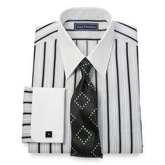 2-Ply Cotton Alternating Satin Stripe Straight Collar French Cuff Dress Shirt