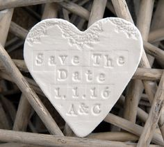 Personalised Save The Date Clay Wedding Magnets, Wedding Favours, Wedding Decoration, Wedding Invitation From The White Heart Gift Company. by TheWhiteHeartGiftCo on Etsy