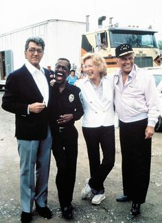 """Rat Pack members Frank, Dean & Sammy on set of the movie """"The Cannonball Run"""" with honorary member, Shirley MacLane."""