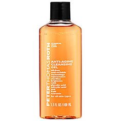 Peter Thomas Roth - Anti-Aging Cleansing Gel  #sephora NOT sure about. says ok for acne/oily skin, but ok for all types so need to research further. 3 oz is $10 8oz 35