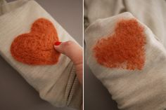Heart-shaped elbow pads... this looks adorable AND doable. What about incorporating a polka-dot pattern or something?