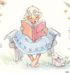 Little Reader © Becky Kelly (Artist, USA). I love Kelly & her books. Yes, I even have her calendar :-)