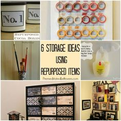 6 Storage Ideas Using Repurposed items - Get organized with these clever ideas to organize your things by creating storage containers with repurposed items.