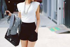 """""""Short High Waisted Shorts + Blazers   Life is a runway""""    (shorts high waist black white ) sglrpick"""