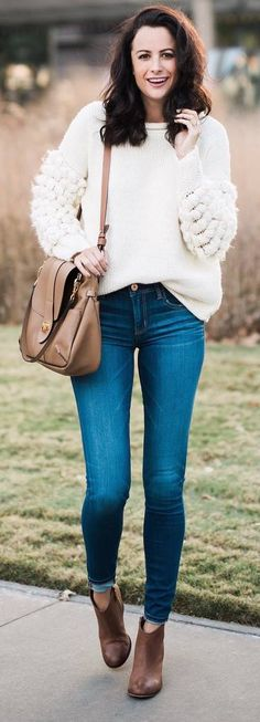 #winter #outfits white loose sweater, skinny jeans, brown boots