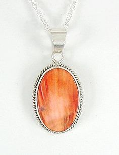 Navajo Sterling Silver  Spiny Oyster Pendant with Chain      $105