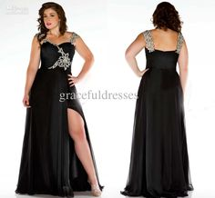 Wholesale Plus Size Special Occasion Dresses - Buy A-Line Shoulder Straps Sequins Beading Front Slite Full-Length Black Plus Size Evening Dresses Prom Dresses 2013, $169.0 | DHgate