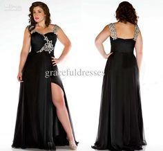 Wholesale Plus Size Special Occasion Dresses - Buy A-Line Shoulder Straps Sequins Beading Front Slite Full-Length Black Plus Size Evening Dresses Prom Dresses 2013, $169.0 | DHgate