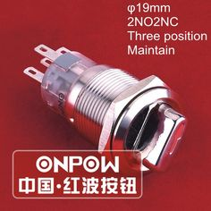 ONPOW 19mm 2NO2NC Three Position Maintain 12V Red LED Stainless steel Selector switch (LAS1-AGQ-22X/31/R/12V)  CE,UL,ROHS