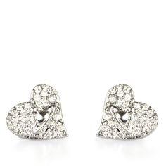 Vivienne Westwood Tiny Diamante Heart Stud Earrings | GarmentQuarter ($94) ❤ liked on Polyvore
