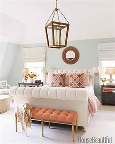 Bedroom colors, love the coral with the walls.