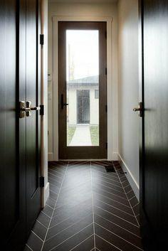Mudroom Floor Tile black porcelain tile in chevron pattern Mudroom Floor Ti. Chevron Bathroom, Chevron Tile, Chevron Floor, Ceramic Floor Tiles, Bathroom Floor Tiles, Porcelain Tile, Ceramic Flooring, Granite Bathroom, Vestibule