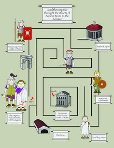 Ancient Rome Maze; Illustrator. #Infographic #education #history