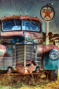 Vintage Trucks Old International At Texaco Photograph by Lisa Moore - Classic Trucks, Classic Cars, Pompe A Essence, Images Vintage, Old Images, Old Gas Stations, Old Pickup, Abandoned Cars, Abandoned Vehicles