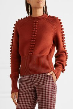 Chloé - Pompom-embellished Knitted Sweater - Brick