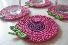 Crochet Coasters Pink Purple Flowers by MJM Crafts, via Flickr