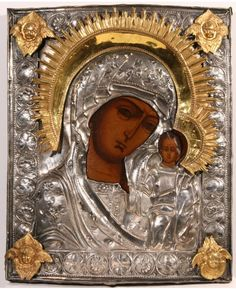 A RUSSIAN ICON OF THE KAZANSKAYA MOTHER OF GOD WITH GILDED SILVER 19TH CENTURY - November 19th 2011 Auction - Прошедшие Аукционы Russian Icons, Russian Art, Religious Icons, Religious Art, Angel Theme, Architecture Art Design, Jesus Christ Images, Byzantine Icons, Madonna And Child