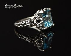 925 sterling silver ring natural topaz ring fantasy by OzziaQueen