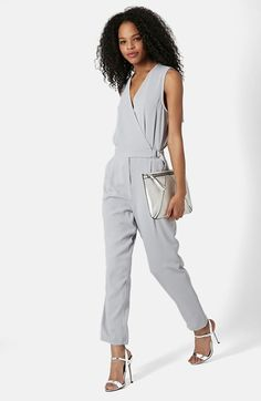 Topshop Sleeveless Wrap Front Jumpsuit available at #Nordstrom