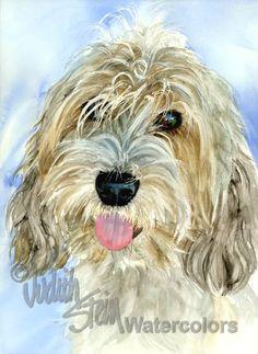 PETIT BASSET Griffon Vendeen Pet Dog Portrait Art Print by k9stein, $22.50