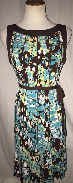 Sandra Darren Multi Color Chocolate Stretch Brown Blue Abstract Print Dress 8P #SandraDarren #Sundress #Casual