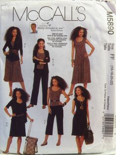 McCall's 5890 Misses' Jackets, Top, Dress and Pants in Two Lengths