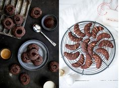 Ein Teig, zwei Weihnachtsplätzchen: Kakao Kipferl und Schokoladen Knöpfe mit Ganache Füllung