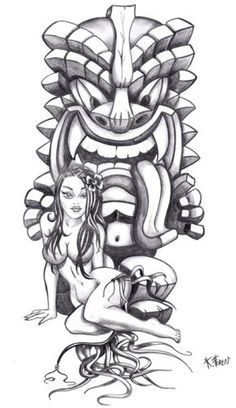 Beautiful Grey Ink Tiki Tattoo Design