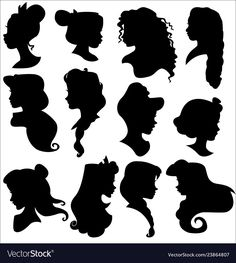 Disney princess silhouettes set vector image on VectorStock Silhouette Design, Disney Silhouette Art, Disney Princess Silhouette, Disney Princess Room, Wolf Silhouette, Dragon Silhouette, Disney Princess Decorations, Disney Princess Paintings, Disney Princess Tattoo