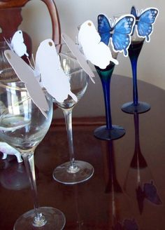 party Place Cards Printable White Butterfly by PetrinaCaseStudio, $8.50