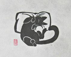 I've already bought one print from her, I might need to buy a few more...   Catnapped - Mini Black Cat Lino Block Print. $9.00 USD, via Etsy.