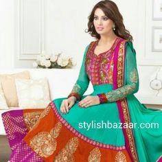 Latest stylish  dress - Todays indian fashion trend - Long floor length Anarkali suit.