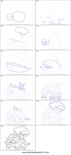 How to Draw Torterra from Pokemon printable step by step drawing sheet : DrawingTutorials101.com