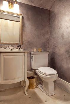 Thurman St - eclectic - bathroom - portland - Garrison Hullinger Interior Design Inc. Eclectic Bathroom, Bathroom Wall Decor, Bathroom Ideas, Small Bathroom, Bathroom Ceilings, Cement Bathroom, Silver Bathroom, Downstairs Bathroom, Bathroom Interior