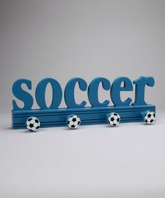 Boys 'soccer' hook plaque.