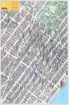 This is what axonometric was made for. (Source: Midtown, Manhattan Map Co. Autocad, Manhattan Map, New York City, Map Diagram, Architecture Mapping, Map Globe, Les Themes, Cities, Travel Illustration