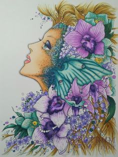 Tutorial image Woman's Head covered in green and purple flowers