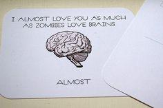 """20 """"I love you like brains"""" Postcards"""