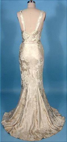 c. 1933-1935 Wedding Gown with Matching Jacket of Ivory Silk Brocade! With Provenance and Original Bouquet Holder