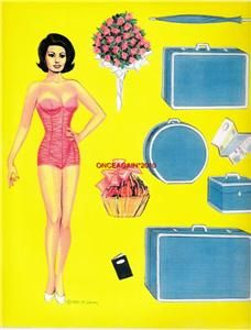 SOPHIA LOREN UNCUT PAPER DOLLS BY MARILYN HENRY~EXTREMELY RARE~OUT OF PRINT