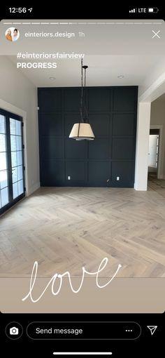 Herringbone Laminate Flooring, Herringbone Wood Floor, Diy Flooring, Black Accent Walls, Black Walls, Black Wood Floors, Style At Home, Planchers En Chevrons, Design Studio