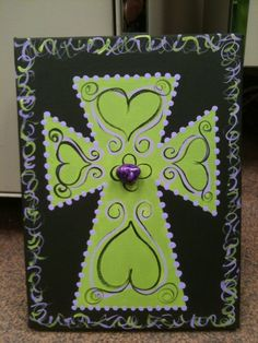 Handpainted Canvas  9x12 Cross  Green and Purple by cntrysisters, $25.00