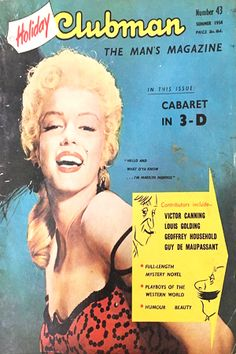 1954 September edition: Holiday Clubman magazine cover of Marilyn Monroe  .... #marilynmonroe #normajeane #vintagemagazine #pinup #iconic #raremagazine #magazinecover #hollywoodactress #1950s